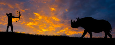 Hunting Silhouette. Silhouette of a bow hunter aiming at a rhinoceros against an evening sunset Royalty Free Stock Images