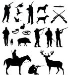 Hunting silhouettes. Black on the white background Stock Photo