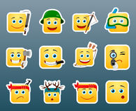 Hunting smile stickers set Stock Images