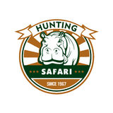 Hunting sport and african safari round badge Stock Images