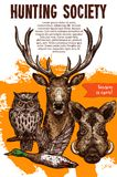 Hunting sport banner with wild animal and bird. Deer, duck, boar and owl sketches for announcement poster of hunting season opening and hunter club flyer Royalty Free Stock Photo