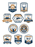 Hunting sport club and african safari badge set Royalty Free Stock Photos
