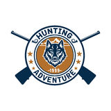 Hunting sport or hunter club, wolf vector icon Royalty Free Stock Photography