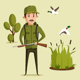 Hunting sport illustration. Hunter with rifle Stock Photos