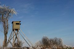Hunting stand. Huntingstand in winter with tree Royalty Free Stock Images