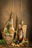 Hunting still life with hare. Antique old master hunting still life with pheasant and hare Royalty Free Stock Photography