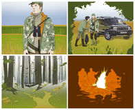 Hunting storyboards. Forest fireplace camouflage royalty free illustration