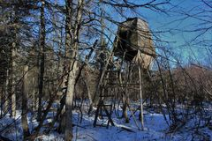 An abandoned and decrepit deer hunting stand in the deep woods in rural nova scotia in winter. A hunting tower left abandoned with posts and ladders leaning Royalty Free Stock Images