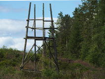 Hunting tower. An old tower used to hunt elk in swedish landscape Royalty Free Stock Image