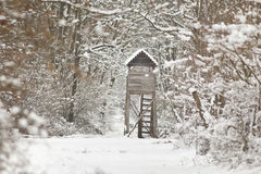 Hunting tower on snow Royalty Free Stock Photos