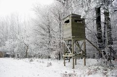 Hunting Tower in Winter Royalty Free Stock Photos