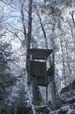 Hunting Tower in Winter Forest Stock Image