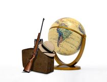 Hunting Trip Equipment and Vintage Globe. Hunting Trip Equipment and Globe Stock Photos