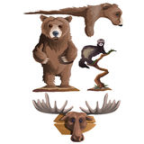 Hunting trophies, bear, deer and other animals Royalty Free Stock Photo