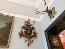 Hunting trophies on the wall stock photography