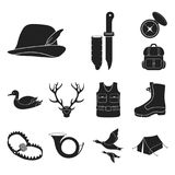 Hunting and trophy black icons in set collection for design. Hunting and equipment vector symbol stock web illustration. Hunting and trophy black icons in set Royalty Free Stock Photography