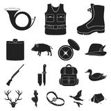 Hunting and trophy black icons in set collection for design. Hunting and equipment vector symbol stock web illustration. Hunting and trophy black icons in set Royalty Free Stock Images