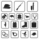 Hunting and trophy black icons in set collection for design. Hunting and equipment vector symbol stock web illustration. Hunting and trophy black icons in set Stock Images