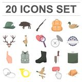 Hunting and trophy cartoon icons in set collection. For design. Hunting and equipment vector symbol stock  illustration Royalty Free Stock Image
