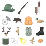 Hunting and trophy cartoon icons in set collection for design. Hunting and equipment vector symbol stock web. Hunting and trophy cartoon icons in set collection Stock Image