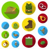 Hunting and trophy flat icons in set collection for design. Hunting and equipment vector symbol stock web illustration. Hunting and trophy flat icons in set Royalty Free Stock Images