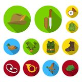 Hunting and trophy flat icons in set collection for design. Hunting and equipment vector symbol stock web illustration. Hunting and trophy flat icons in set Royalty Free Stock Photography
