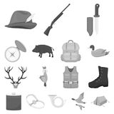 Hunting and trophy monochrome icons in set collection for design. Hunting and equipment vector symbol stock web. Hunting and trophy monochrome icons in set Royalty Free Stock Photography