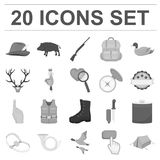 Hunting and trophy monochrome icons in set collection for design. Hunting and equipment vector symbol stock web. Hunting and trophy monochrome icons in set Royalty Free Stock Photos