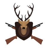 Hunting trophy. Stuffed taxidermy deer head. With big antlers in wood shield. 2 crossed shotguns. Color no outline illustration  on white Royalty Free Stock Image