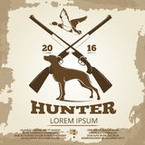 Hunting vintage poster design with guns, dog and duck Royalty Free Stock Photo