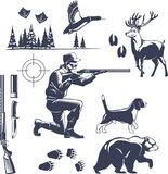 Hunting Vintage Style Icons Set. Hunting icons set with shooter and hound animal and tracks fir forest vintage style isolated vector illustration Royalty Free Stock Photography