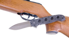 Hunting weapon and knife Royalty Free Stock Photography