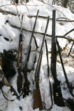 Hunting weapons Siberian hunters in the winter the den Royalty Free Stock Photography
