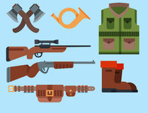Hunting weapons and symbols design elements flat style hunter forest wild animals vector illustration. Royalty Free Stock Images