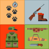 Hunting weapons and symbols design elements flat style hunter forest wild animals vector illustration. Stock Photo