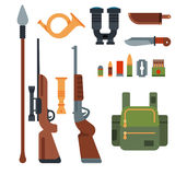 Hunting weapons and symbols design elements flat style hunter forest wild animals vector illustration. Royalty Free Stock Photos