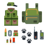 Hunting weapons and symbols design elements flat style hunter forest wild animals vector illustration. Royalty Free Stock Photo