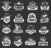 Hunting wild animals, hunter ammo heraldic icons. Hunting sport, hunter ammo and hunt trophy animals heraldic icons. Vector hunting club badges, African safari royalty free illustration