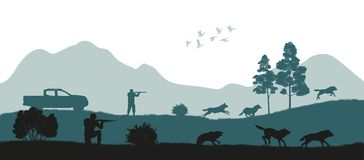 Hunting the wolves. Black silhouette of hunters. On forest background. Wildlife landscape. Panorama of shotgun mans safari. Season expedition. Vector Royalty Free Stock Image