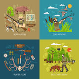 Hunting 2x2 Design Concept Set Royalty Free Stock Photos