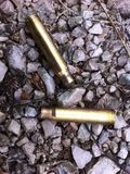 Hunting zone. Bullets found near the road in the woods Royalty Free Stock Image