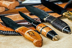 Huntings knife with decorative handles Royalty Free Stock Images