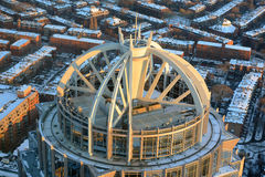 111 Huntington Avenue Building, Boston, Massachusetts. 111 Huntington Avenue Building aerial view at sunset in winter, from top of Prudential Center, Boston Royalty Free Stock Image