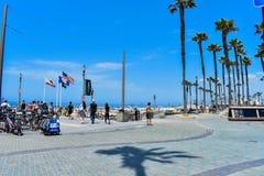 7-8-18 Huntington Beach, Ca på en solig dag arkivfoto
