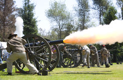 Huntington Beach Civil War Days - Canon Fire Royalty Free Stock Photo