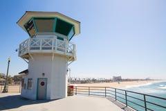 Huntington beach main lifeguard tower Surf City California royalty free stock photography