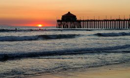 Huntington Beach Pier. At Sunset Royalty Free Stock Images