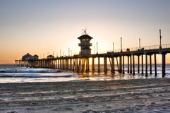 Huntington Beach Pier. Scenic HDR landscape Huntington Beach (Surf City) pier Royalty Free Stock Photos