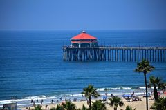 Huntington Beach-Pier stockbilder