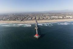 Huntington Beach Pier Aerial in Southern California Royalty Free Stock Photos